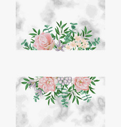 template with pink flowers on white marble vector image