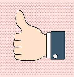 thumbs up like icon for social networking pop art vector image