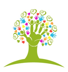 Tree hands hearts and figures logo vector