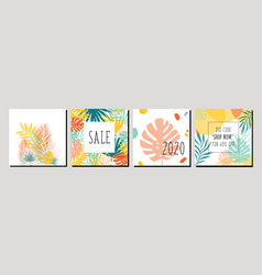 trendy abstract square art templates with floral vector image