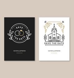 Wedding invitation card template thin line vector