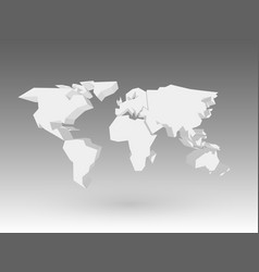 white 3d world map with dropped shadow on grey vector image