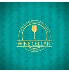 Wine cellar decorative turqiouse card vector