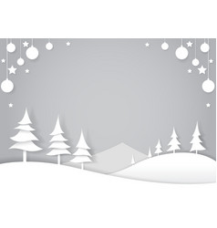 Winter forest cut paper art style vector