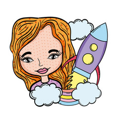 woman with rocket pop art character vector image