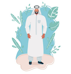 young arabic man wearing traditional wear vector image