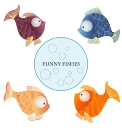 Cartoon characters funny fishes isolated on white vector image vector image