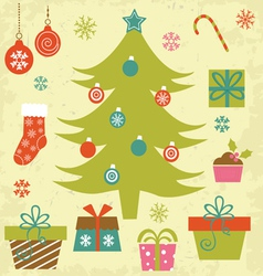 Christmas tree with gifts and ornaments vector