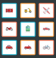 Flat icons car metro transport and other vector