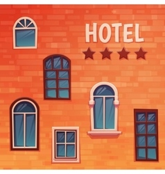 Background of wall with windows and hostel title vector
