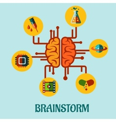 Creative brainstorming flat concept design vector image