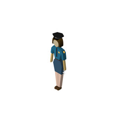Isolated officer isometric policewoman vector