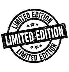 Limited edition round grunge black stamp vector