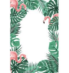 tropical jungle leaves flamingos frame portrait vector image vector image