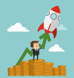 businessman with start up making money cartoon vector image