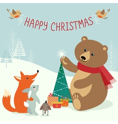 Christmas woodland vector image