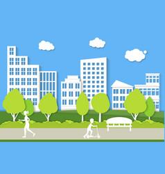 city landscape background paper art vector image