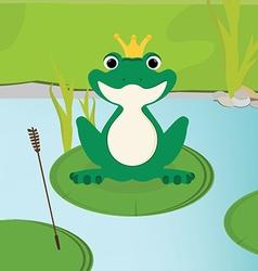 Green frog in crown vector image vector image