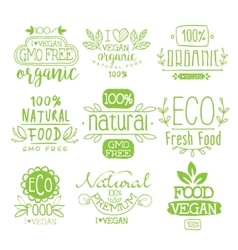Organic Food Calligraphic Label Set vector image vector image