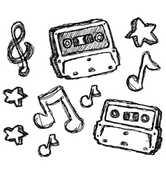 scribble series - cassette vector image vector image