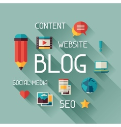 Blog concept in flat design style vector image