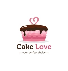 cute shiny pink cake logo with chocolate vector image
