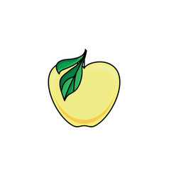 flat sketch style yellow fresh ripe apple vector image