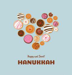 hanukkah dougnut jewish holiday symbol sweet vector image