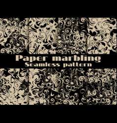 marbling seamless pattern set marbled paper vector image