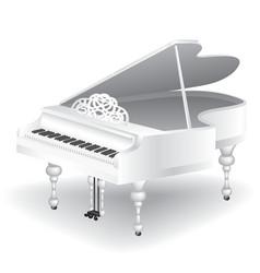 White grand piano vector