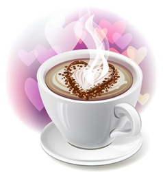 a cup of coffee with heart-shaped decoration vector image