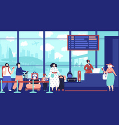 airport check in queue girl waiting plane vector image
