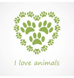Animal foot print heart in eco style vector image