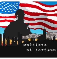 Armed soldiers in front of the American flag vector