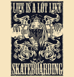 authentic monochrome style skateboarding poster vector image