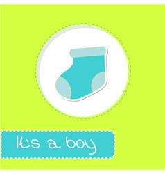 Baby boy sock Shower card vector