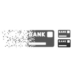 Bank card decomposed pixel icon vector