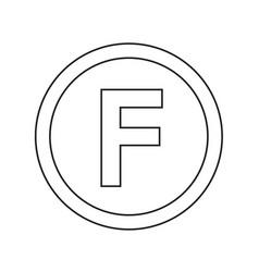 basic font for letter f icon design vector image