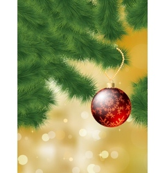 Baubles hanging on a christmas tree EPS 8 vector image