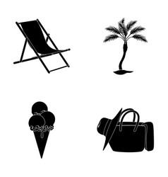 Beach palm tree ice creamsummer vacation set vector