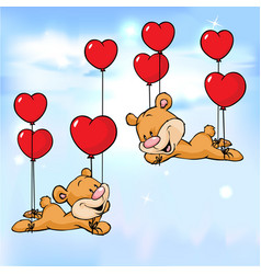 bear flying with balloons in the shape of heart vector image