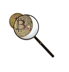 bitcoin and magnifying glass vector image