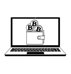 Bitcoin wallet in the laptop vector