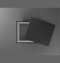 Black empty box mock up on dark gray background vector