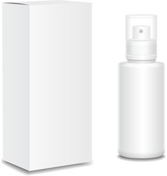 Blank cosmetics containers bottle with package vector image