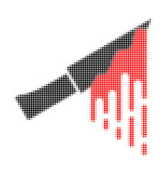 bloody knife halftone dotted icon vector image