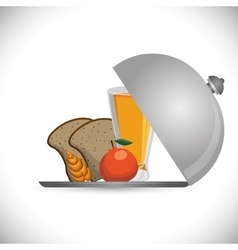 Breakfast bread juicy apple wheat catering vector