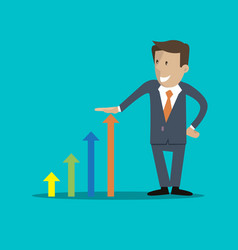 Businessman and graph business growth vector