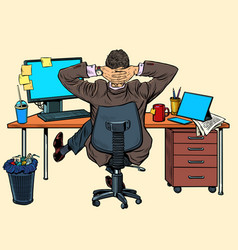 Businessman resting in office at his desk vector