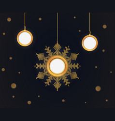 christmas balls and snowflakes cut out the paper vector image